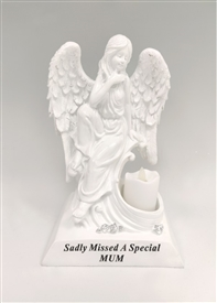 Mum Angel With Flickering LED Candle 27cm