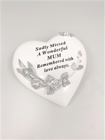 Mum Floral Memorial Heart 14cm
