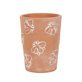 Small Terracotta Bee Pattern Plant Pot 11cm
