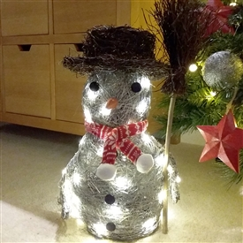 Grey Brushwood LED Light Up Christmas Snowman Decoration 40cm