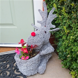 Grey Brushwood Christmas Sitting Reindeer Planter 40cm