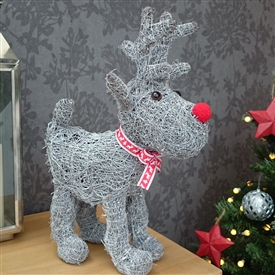 Grey Brushwood Standing Christmas Reindeer Decoration 43cm