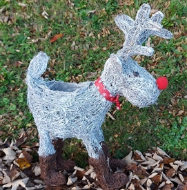 Grey Brushwood Standing Christmas Reindeer Decoration 60cm