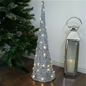 Grey Brushwood LED Light Up Christmas Tree Cone Decoration 70cm