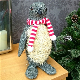 Grey Brushwood Christmas Penguin Decoration 36cm