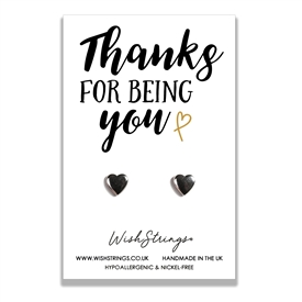 Set Of 2 Heart Earrings Thanks For Being You