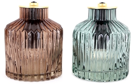 Ribbed Glass Lamp 15cm 2 Assorted