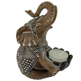 Wooden Effect Elephant Candle Holder