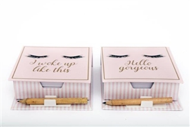 Eyelash Memo And Pencil Set 2 Assorted