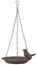 Rustic Brown Metal Hanging Bird Bath