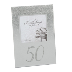 Silver Glitter Birthday Photo Frame � 50