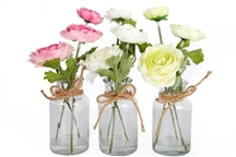 Flowers in Glass Jar 23cm 3 Assorted (SOLD IN 3's)