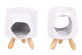 Modern Crisp White Oil Burner On 3 Wooden Legs 12cm 2 Assorted Designs