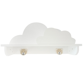 Wooden Cloud Shelf with Bear Hooks