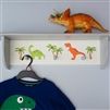 Dinosaur Wallshelf with 3 Pegs 60cm