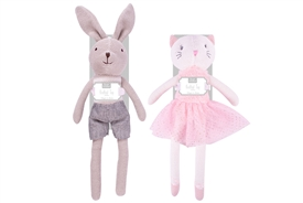 Knitted Bunny And Cat Teddy