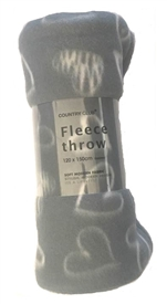 GreyFleece Throw With Heart Design