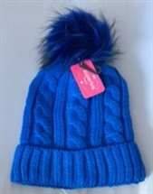 Faux Fur Knitted Hat - Blue