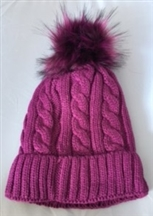 Faux Fur Knitted Hat - Purple