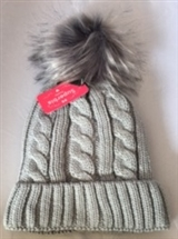 Faux Fur Knitted Hat - Silver