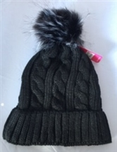 Faux Fur Knitted Hat - Black