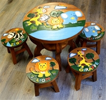Safari Animals Wooden Table & Stools Set