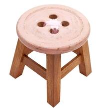 Wooden Button Stool Pink 24cm