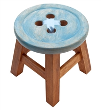 Wooden Button Stool Blue 24cm