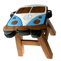 Wooden Campervan Blue Stool 24cm