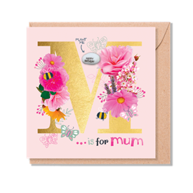 Card With Magic Growing Bean - M Is For Mum