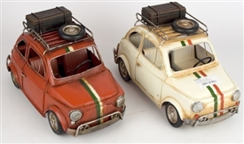Tin Fiat 500 Ornament - 2 Assorted