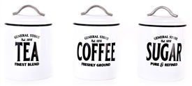 General Store Tea Coffee Sugar Canisters 3 Asst
