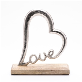 Wood And Metal Love Heart Decoration 20cm