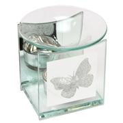 Glitter Butterfly Glass Oil Burner 12cm
