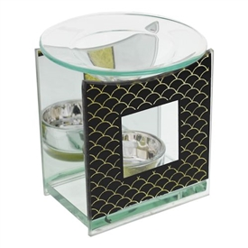 Black And Gold Glass Oil Burner