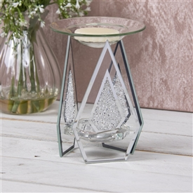 Diamond Shaped Oil Burner With Crystals