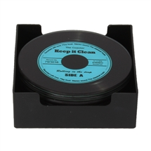 DUE SEPTEMBER-Musicology Set Of 6 Glass Record Coasters