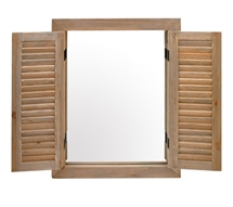Driftwood Mirror with Shutters 52cm