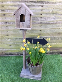 Birdhouse with Chalkboard Arrow - 78cm