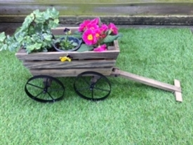 REDUCED, LIMITED TIME ONLY<p>Pushcart Planter with Metal Wheels - 53cm