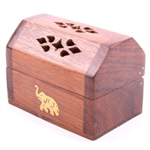 Mini Incense Burner Box With Elephant Inlay