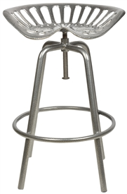 Grey Metal Tractor Seat Stool