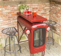 Red Metal Tractor Table