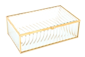 Gold Rimmed Glass Jewellery Box 20cm