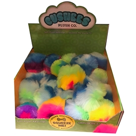 Plush Rainbow Pom Pom Key Rings With Sound