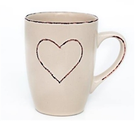 Cream Ceramic Mug With Heart Design 10x8cm