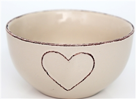 Heart Embossed Cream Bowl