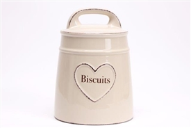 Shabby Chic Cream Ceramic Hand Drawn Heart Biscuit Jar With Lid 22cm