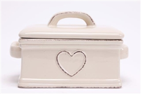 Shabby Chic Cream Ceramic Hand Drawn Heart Butter Dish With Lid 16cm