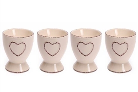Set Of 4 Shabby Chic Cream Ceramic Hand Drawn Heart Egg Cups 6.5cm